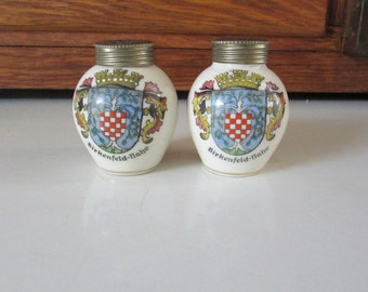 Birkenfeld-Nahe Souvenir Porcelain Salt & Pepper Shakers – Handausgemalt – Made in Bavaria - Vintage Germany Souvenir