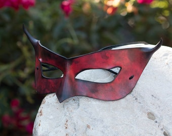 Horned Leather Mask Red and Black