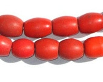 40 Bohemian Colodonte Beads - Antique African Beads - African Trade Beads - Vintage Glass Beads - Czech Glass Beads (CZEC-OVL-RED-201)