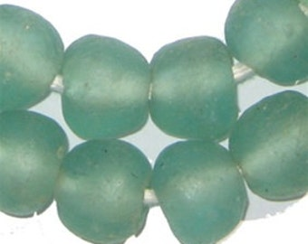 40 Aqua Recycled Glass Beads - Large Glass Beads - Crushed Glass Ethnic Tribal Rustic Eco-Friendly African Natural Ghana (RCY-RND-AQU-566)