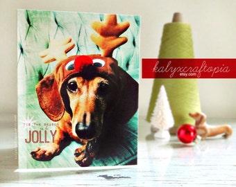 Adorable Dachshund Christmas Card