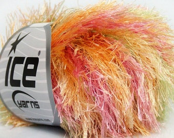 ICE YARNS COLORFUL  Yellow pink orange green 1 skein 50gr bulky polyester chunky craft rug yarn turkish us 10 82 yards  42954