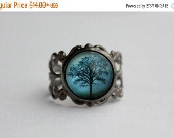 Blue Shadows Tree Filigree Ring. Midnight Blue. Adjustable.