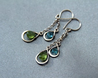 Olivin and apatite dangle drop earring - Sterling silver drop earrings - Handmade earrings