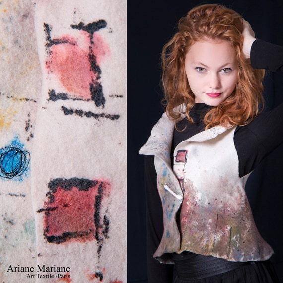 Merino Wool Art Vest, Extra Small handpainted Felt Women Vest, Wearable Art Garments Paris Design, Reversible Bolero, Original Fiber Art