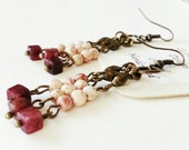 Pink and Dyed Red River Jasper Boho  Fringe Earrings with Antiqued Brass Handmade Hippie Bohemian Danglers