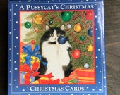VINTAGE CHRISTMAS CARDS, Pussycat's Christmas, Margaret Wise Brown, Anne Mortimer, Cat Christmas