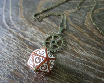 D20 steampunk dice pendant steam punk necklace steampunk jewelry clockwork dungeons and dragons game gamer geeky polyhedral toothed bar