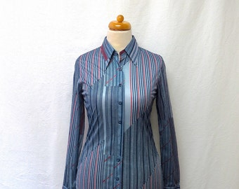 1970s Vintage Huk A Poo Jersey Shirt / Red & Blue Abstract Striped Shirt