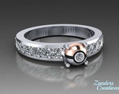 PK Ball Ring in 14k Rose Gold and Sterling Silver with .28CT total Cz's