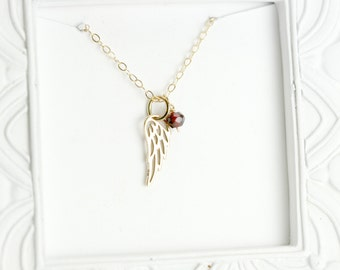 Gold Angel Wing Necklace - Gold Memorial Necklace - Funeral Gift - Remembrance Necklace - Gold Guardian Angel Necklace - Miscarriage Gift