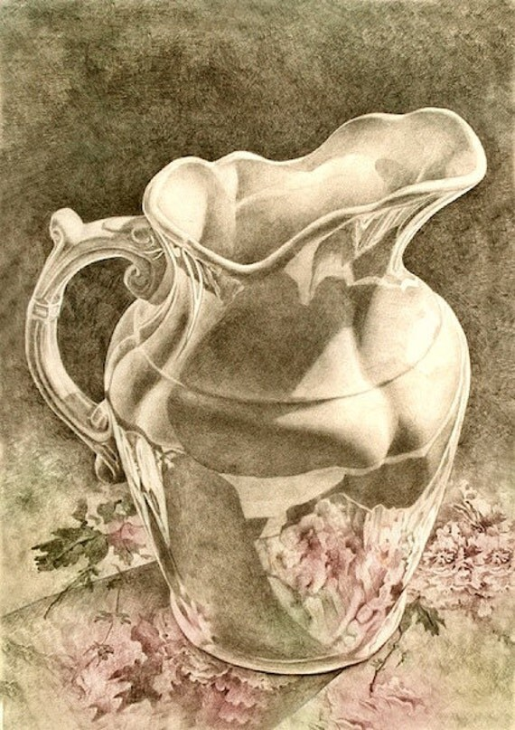 Art Print--Dreaming of Peonies, spring, flowers --From Original Graphite Drawing, still life ART