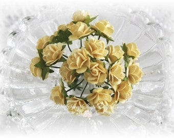 Miniature Roses~Buttercup~ Set of 20 for Scrapbooking, Cardmaking, Altered Art, Wedding, Mini Album