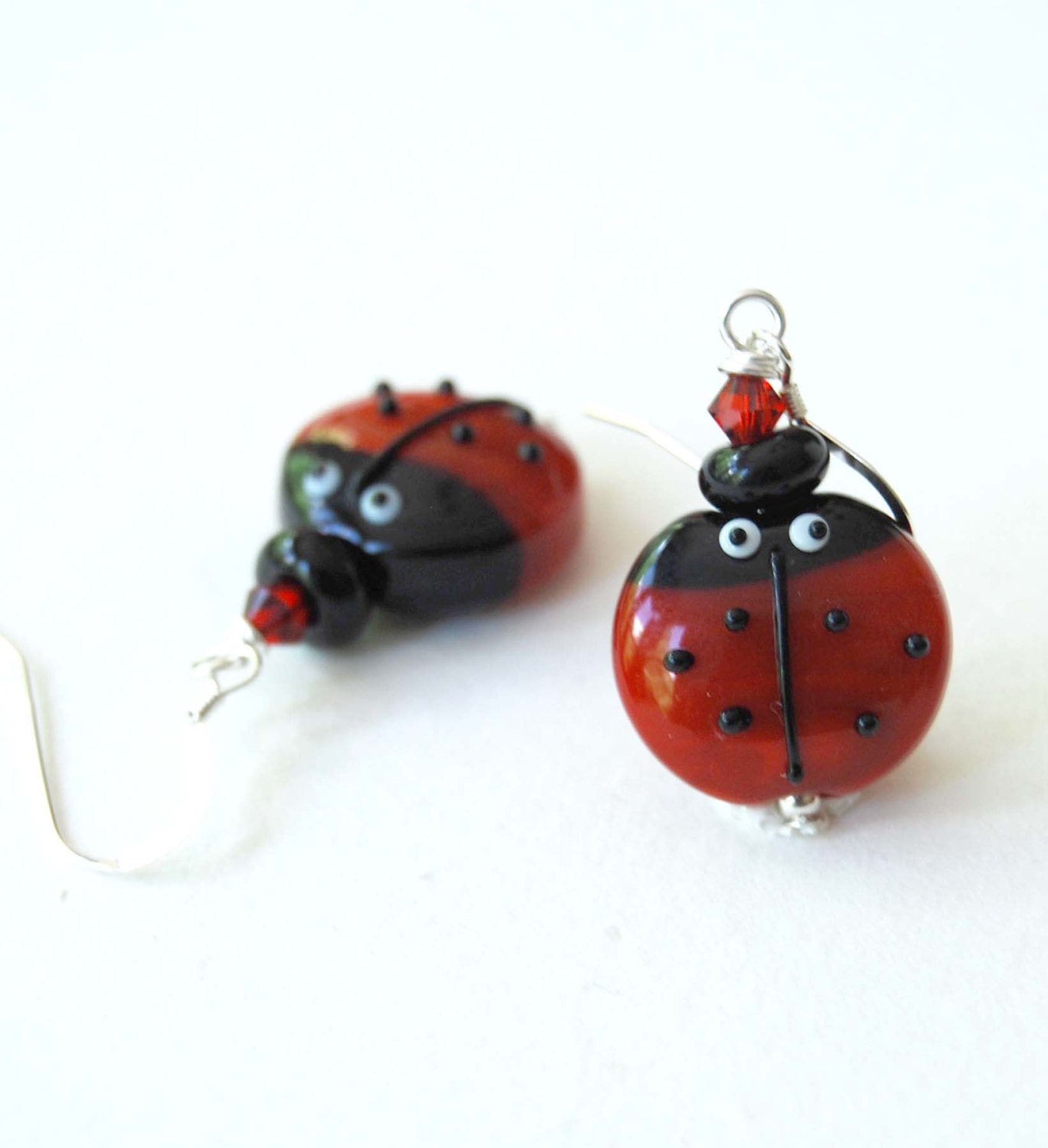 ladybug earrings earrings garden earrings lwork