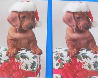 Hallmark Vintage Christmas Greeting Cards With Dachshund Dog