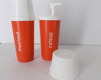 Tupperware Vintage Catsup and Mustard Orange Pump Containers with Lids