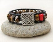 Mens Tiger Iron Stone, Coral and Leather Wrap Bracelet, Celtic Knot Button, Nugget, Handmade Leather Jewelry, Bracelet for Men