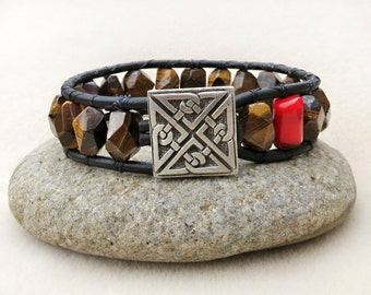 Mens Tiger Iron Stones, Coral and Leather Wrap Bracelet, Celtic Knot Button, Nugget, Handmade Leather Jewelry, Bracelet for Men
