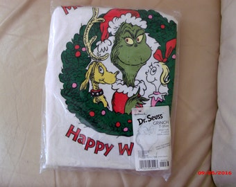 Vintage Grinch Christmas XL Tee Shirt Ugly Sweater T Shirt Whoville Unisex MIP