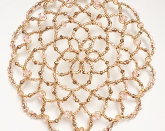 Pale Pink and Gold Beaded Kippah