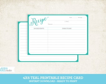 Teal 4x6 Printable Recipe Card