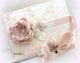 Wedding Guest Book, Blush,Tan, Beige, Rose,Ivory, Vintage Wedding, Sign In Book, Signature Book, Pen, Lace Guest Book, Birthday, Anniversary