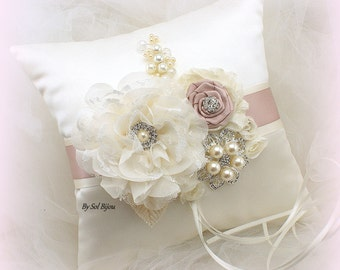 Ring Bearer Pillow, Ivory, Cream, Blush, Rose, Vintage Wedding,Elegant Wedding,Bridal,Satin Pillow, Brooch, Crystals, Pearls, Gatsby Wedding