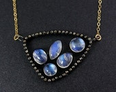 40 OFF SALE Rainbow Moonstones and Pave Diamond Necklace – Choose Your Pendant – 14K Gold Filled Chain