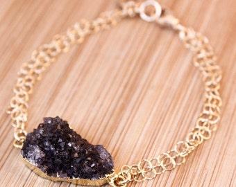20% OFF Gold Black Druzy Bracelet - Letter Charm Bracelet - Free Form Druzy