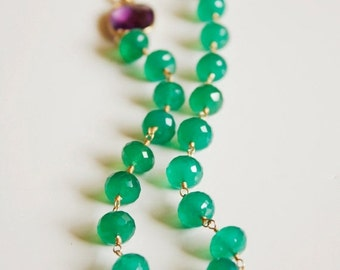 40 OFF SALE Green Onyx and Purple Amethyst Necklace - 14KT Gold Fill - Bright Spring Shades