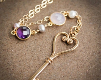 40 OFF SALE Gold Skeleton Key Layering Necklace - Pearls, Chalcedony, Amethyst - French Couture Inspired