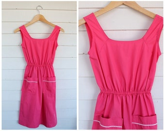 Pink Cotton Dress - Sleeveless Summer Dress with Pockets - Vintage 1970s 70s