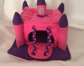 Castle Pet Hide Floorless Hedgehog Fleece Castle House with Drawbridge Made to Order Item Any Color Combo