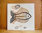 Vintage Ceramic Kitchen Tile Fish Midcentury Modern Atomic Design.