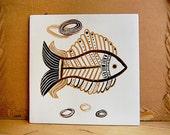 Vintage Mid Century Modern Ceramic Fish Tile for Kitchen Atomic Design.