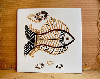 Vintage Ceramic Kitchen Tile Fish Midcentury Modern Atomic Design.