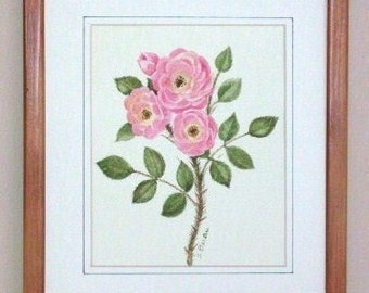 Moss Rose Orchid in Petal Pink Watercolor Flower Painting