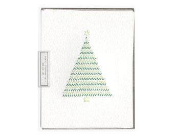 Christmas Tree letterpress card - set of six