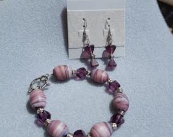 SALE!!! Purple-43 Bracelet and Earrings