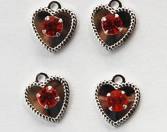 Vintage Silver Hearts Rhinestones 4 Sterling Plated Hearts Swarovski Hyacinth Orange 10mm