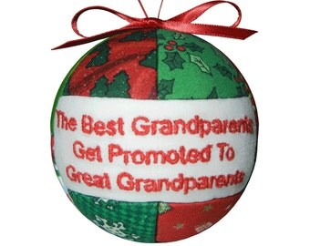 Best Grandparents Christmas Holiday Ornament Quilted Christmas Ornament Fabric Ball Ornament Tree Decor Ready To Ship by CraftCrazy4U