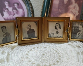 RARE Petit Point Purse Pocket Photo Locket Album War Time WW2 Original Stock Photos FREE Shipping
