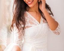 ... sleeve bridal wrap, lace wedding jacket, white lace shrug, bridal lace