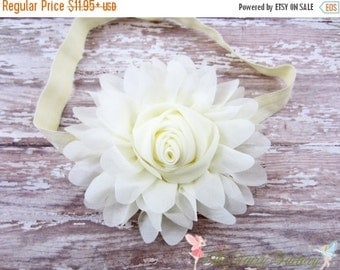 Ivory Flower Headband, Jumbo Chiffon Rose Headband or Hair Clip, The Emma, Baptism, Christening, Flower Girl, Baby Child Girls Headband