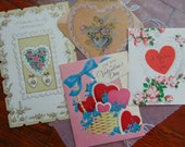 Vintage 1950s-60s Victorian Valentine Card lot 4 Cards Paper Ephemera