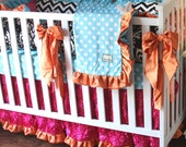 Aqua Dot, Hot Pink Roses, Orange, Chevron, and Damask Crib Bedding SWATCH SET, Make sure fabrics are exactly what you want before you order!