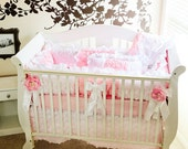 Baby Pink and White 3D Roses Bedding SWATCH SET, Make sure fabrics are exactly what you want before you order!