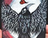 Black Bird Crow Art, Moon Painting, Original, Acrylic, Canvas, Guard