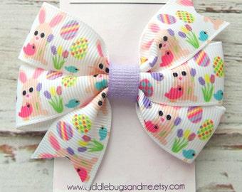 Bunnies Hair Bow, Easter Bunnies Hair Bow, Girls White Hair Bow, Hair Bows,  Easter Hair Bow, Hair Bows For Girls, Baby Hair Bows, Bunny Bow