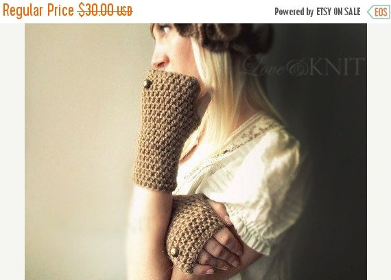 ON SALE beige fingerless gloves womens fingerless gloves winter gloves cozy hand warmers texting gloves mitts half finger gloves button glov